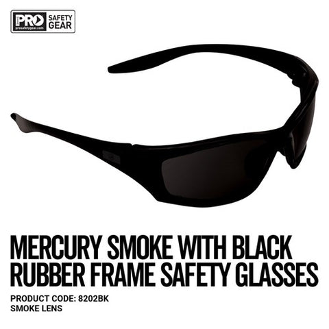 Prochoice® Mercury Black Frame Safety Glasses Smoke Lens