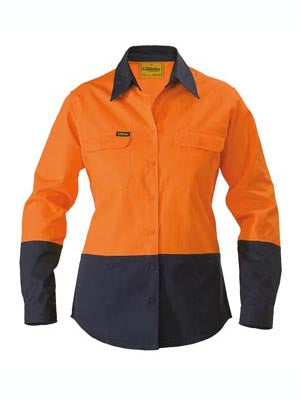 Bisley Ladies BL6267 Hi Vis Drill shirt long sleeve