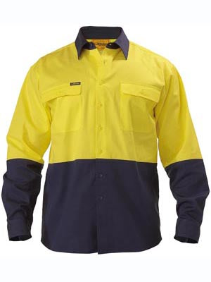Bisley Mens BS6267 2 tone Hi Vis Drill shirt long sleeve
