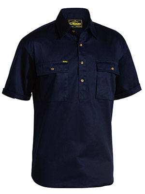 Bisley Mens BSC1433 Closed Front Cotton Drill Short Sleeve Shirt