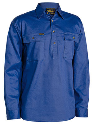 Bisley Mens BSC6433 Closed Front Cotton Drill Shirt long sleeve