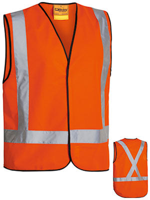 Bisley BT0347 Mens X taped fluro vest