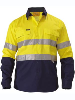 Bisley Mens BT6456 3M Taped 2 tone Hi Vis Long Sleeve Drill shirt