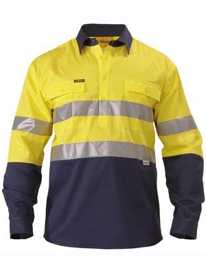 Bisley Mens BTC6456 3M Taped 2 tone Closed front Hi Viz shirt long sleeve