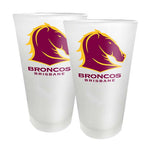 Broncos supporter set frosted conical glasses 2 pack