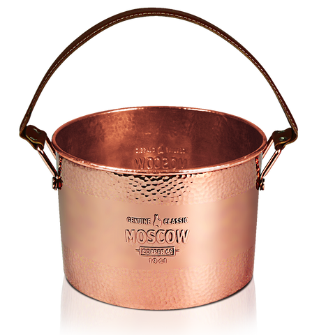 Moscow Copper Co. Hammered Copper Ice Bucket with leather handle