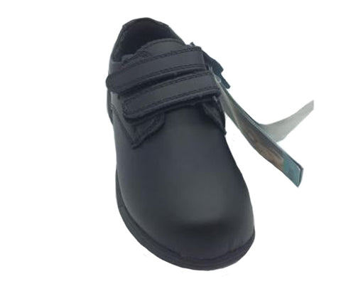Grosby Pete Black Leather school shoes