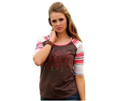 Cruel Girl Ladies Western Shirt Tee 3/4 Sleeve Loose fit Brown