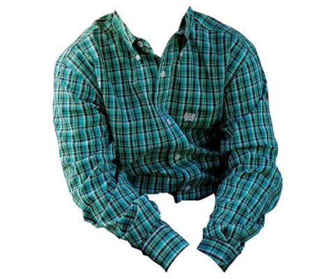 Cinch Boys green check long sleeve button up shirt