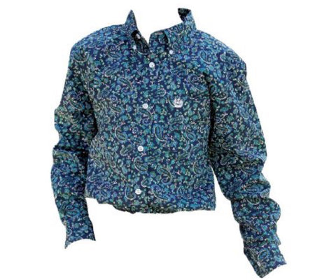 Cinch boys long sleeved paisley weave shirt