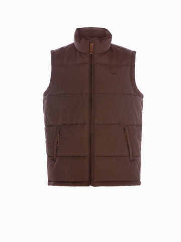 RM Williams Mens Patterson Creek vest Chocolate
