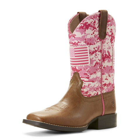 Ariat Kids Patriot Boots Buff Sand/Pink Camo