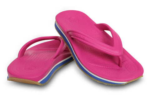 Crocs kids retro flip flop thong fuchsia sea blue US junior sizes