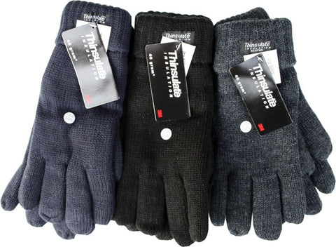 Thinsulate Men's Extra Warm Thermal Knitted Gloves 40g Thinsulate Lining