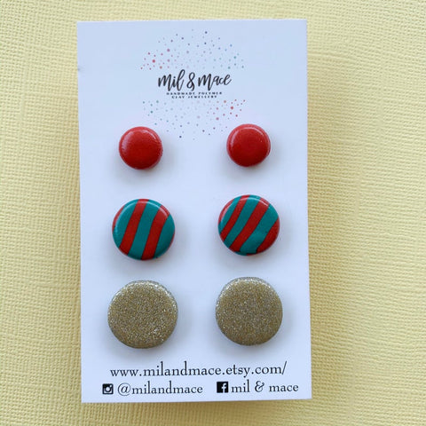 Mil and Mace Polymer Clay Christmas Stud Pack