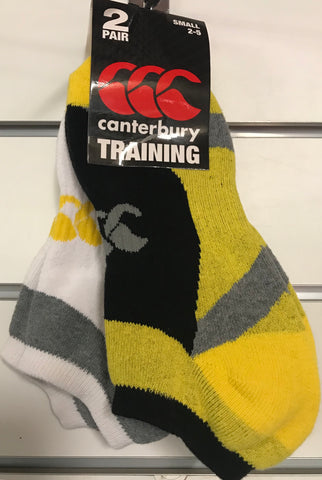 Canterbury Traing Ankle Sock 2 pair pkt size 2-5