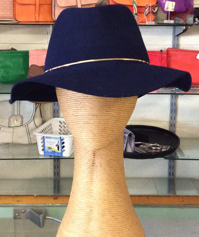 Morgan & Taylor Navy Fedora with Gold Ring Band Navy