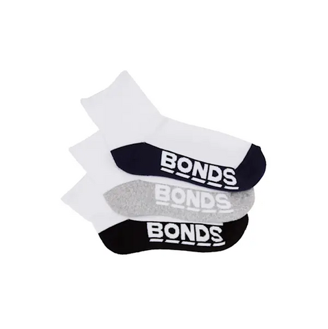 Bonds mens logo sport socks - 3 pack - black/grey/navy