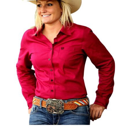 40c2b555f0773c Cinch Ladies Western Shirt Long Sleeve Stripe Pocket Red – Lemmons Store
