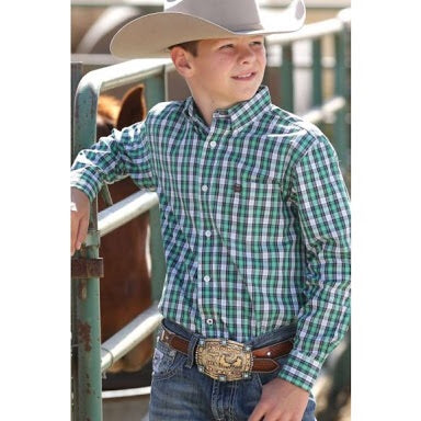 Ariat Boys Green Check Shirt