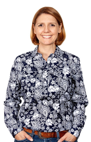Just Country Georgie Half Button Print Work shirts
