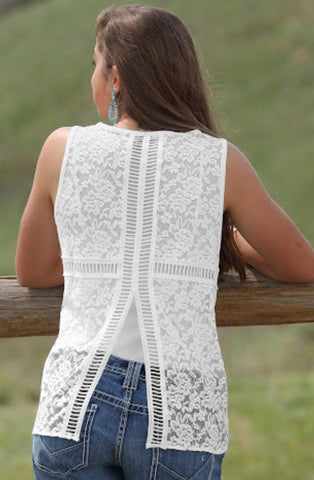 Cruel Girl Ladies White Lace Tank