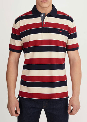 RM Williams Rod Polo  Red & Navy Strip KP21035GZ01