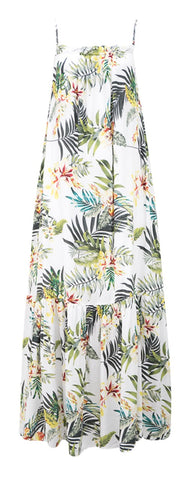 Ebby & I Ladies Tropical  White Maxi