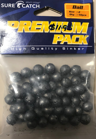 Sure Catch 2 Ball Premium Lead Sinkers 50 pack