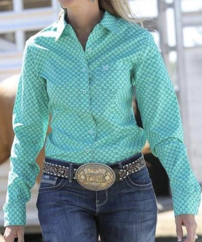 Cinch Ladies Turquoise & Purple print LS poster western shirt