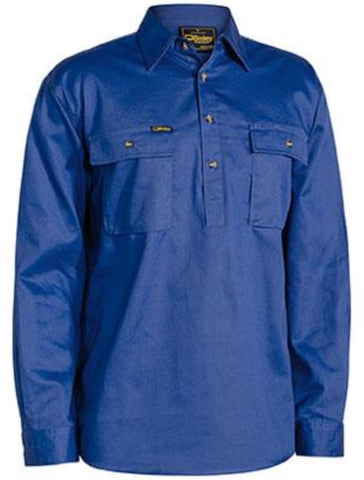 Bisley Mens BSC6820 Closed Front Cool Lightweight Cotton Drill Long Sleeved Shirt