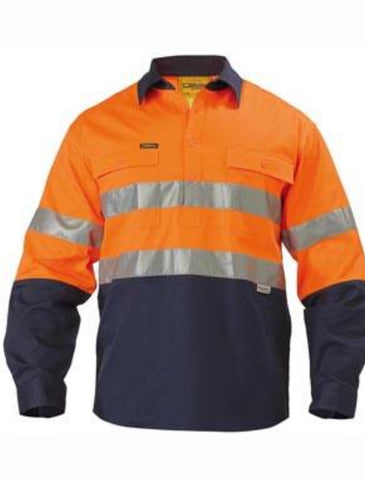 Bisley Mens BSC6896 3M Tapped 2T Hi Vis LW Closed Front Shirt
