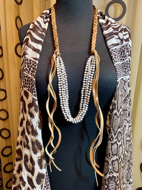 Jewelry- JC Leather Fringe Necklace