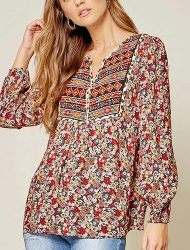 Shirt- Multi Color Floral with Embroidery