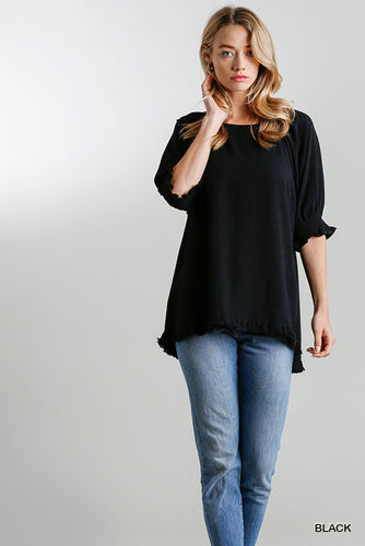Shirt- Black Frayed Hem