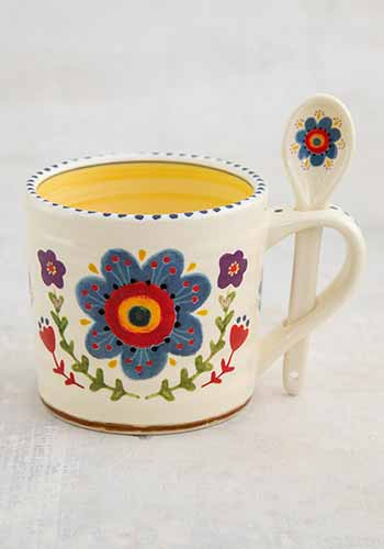 Mug- Flower with Spoon