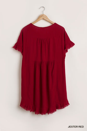 Dress- Round Neck Dress with Frayed Hem