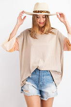 Shirt- Khaki with Rainbow Sleeve