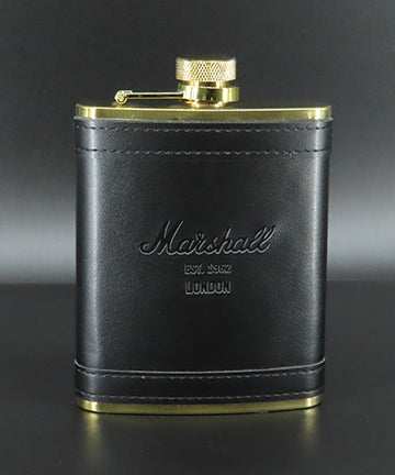 Marshall Leather Flask in Black/Gold-Marshall Travel