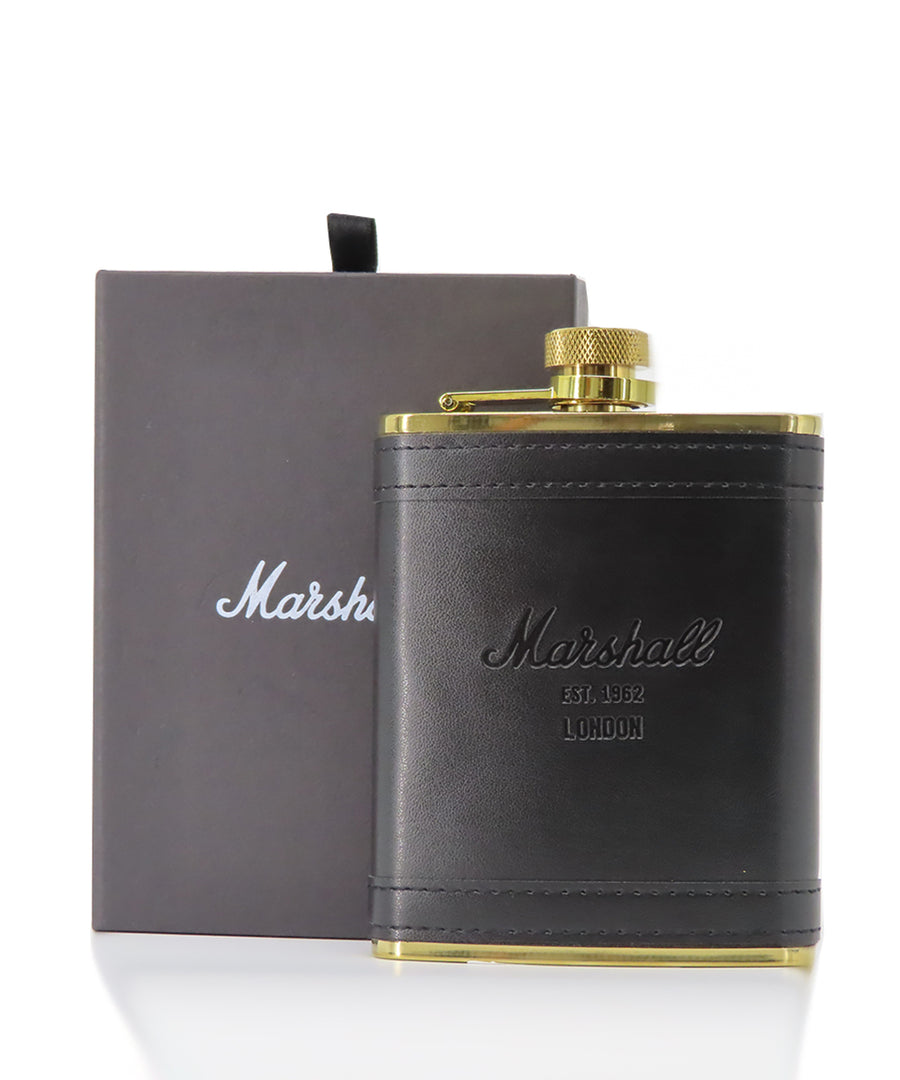 LEATHER FLASK BLACK/GOLD STAINLESS STEEL