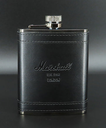LEATHER FLASK NICKEL GREY STAINLESS STEEL