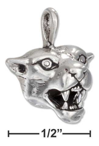 Sterling Silver Growling Cougar Face Charm | Jewelry Store