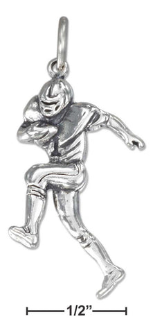 Sterling Silver Antiqued Running Football Player Charm | Jewelry Store