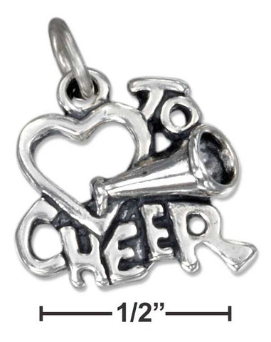 "Sterling Silver Heart ""To Cheer"" Charm 