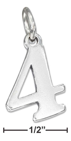 "Sterling Silver ""4"" Number Charm 