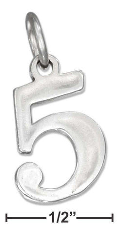 "Sterling Silver ""5"" Number Charm 