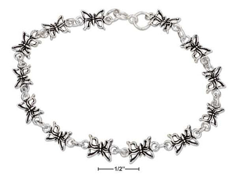 "Sterling Silver 7"" Antiqued Link Mini Butterfly Bracelet 