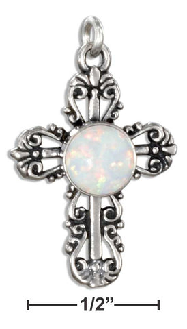 Sterling Silver Fancy Filigree Synthetic Opal Cross Charm | Jewelry Store