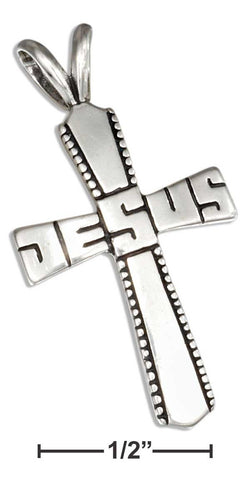 "Sterling Silver Antiqued ""Jesus"" Cross Pendant 