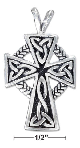 Sterling Silver Celtic Cross Pendant With Trinity Knots And Braid | Jewelry Store
